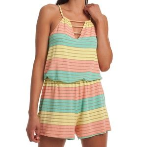 Trina Turk Striped Rainbow Lurex Romper